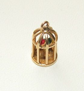 Antique 14k Yellow Gold Bird Cage Novelty Charm Pendant not Scrap