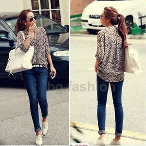 S M L XL New Women 3 4 Sleeve Casual Leopard Print Shirt Tops Button Down Blouse
