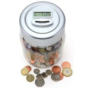 UK £ Digital Coin Counter Jar Money Box Cash Counting Machine COUNTS Coins Pound
