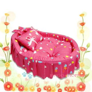Gorgeous Princess Pet Dog Cat Bed House Sofa 100 Cotton 1CUTE Pillow Pink Small