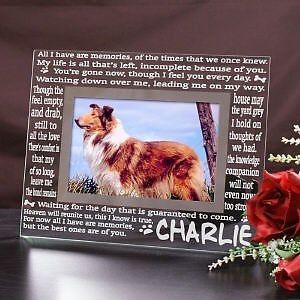 Personalized Glass Dog Memorial Picture Frame Pet Memorial Sympathy Photo Frame