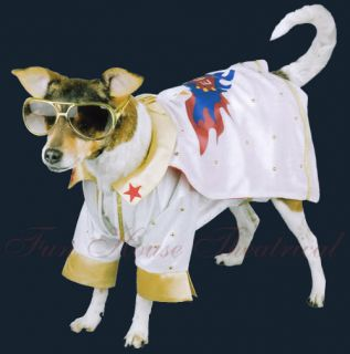 Elvis Presley Pet Dog Costume White Cover Suit 38007