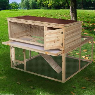 "46"" Deluxe Wooden Chicken Coop Hen House Rabbit Wood Hutch Poultry Cage Habitat"