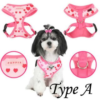 Puppia Essence Heart Soft Fabric Dog Harness Lead Set Jacket Comfy Pink Green
