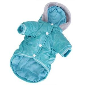 Pet Dog Warm Winter Coat Hoodie Hooded Jacket Clothes Puffy Coat Costume Teal