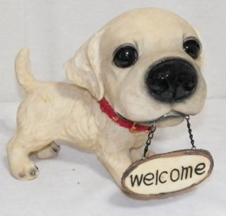 New Big Headed Golden Retriever Lab Dog Puppy Welcome Sign Decoration Statue 8""