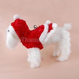 Pet Dog Puppy Santa Christmas Dress Costume Apparel Red