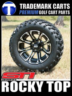"New 12"" STI HD3 Machined Black Golf Cart Wheels and 22"" A T Tires"