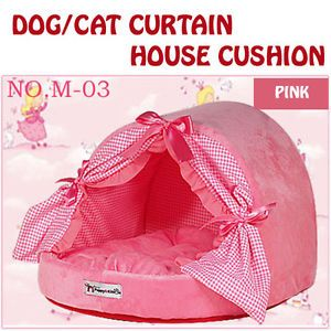 Dog Cat Pet's Warm Soft Bed Microfiber Curtain House Cushion 6Clr Made in Korea