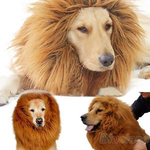 Large Pet Dog Cat Lion Wig Mane Hair Festival Party Dress Clothes Costume B84U