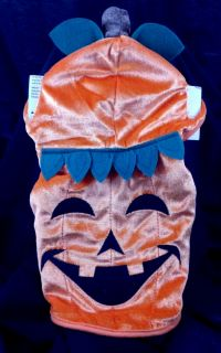 Dog Orange Pumpkin Halloween Costume XS w Attached Cap Tricks Treats Pet New