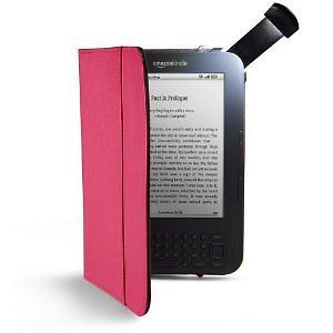 Hot Pink Leather Cover Case w Light for Kindle 3 Kindle Keyboard