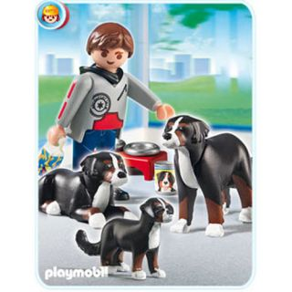 Playmobil City Life Bernese Mountain Dogs with Puppy 5214 New Toy Figure