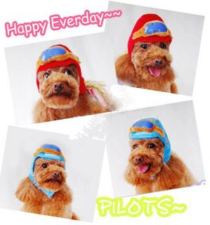 Captain Pilot Costume Hat Helmet Cap Earflap for Pet Dog Puppy and Cat Red