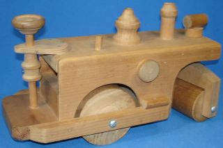 Vintage Hand Made Wooden Steam Roller Toy Road Construction Truck Drive Wheel