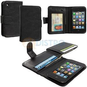 Black Leather Wallet Case Card Money Pouch Bag Holder for iPod Touch 4th Gen 4G