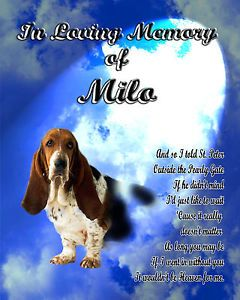 Pet Memorial Basset Hound Personalized w Dog's Name Sky w Poem Unique Gift
