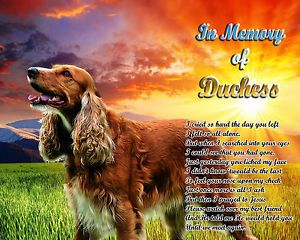 Pet Memorial Cocker Spaniel Personalized w Dog's Name Sunrise Poem Unique Gift