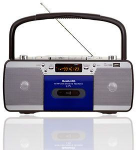 Quantumfx J37U Portable Radio Cassette Player with CD  Player and USB Port