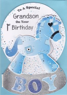To A Special Grandson on Your 1st Birthday Baby Boy Greetings Card Rocking Horse