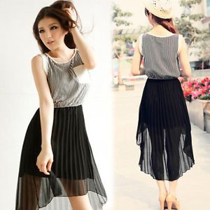 Women Sleeveless Stripe Asymmetric High Low Pleat Chiffon Maxi Dress Casual 4600