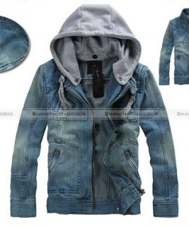 Men Stylish Casual Hooded Cap Slim Denim Coat Jacket Outwear M XXL MCOAT091