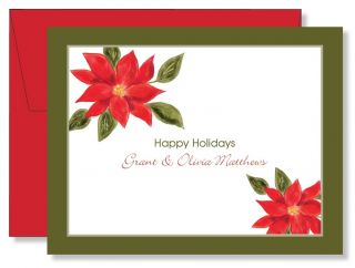 Custom Personalized Christmas Poinsettia Holiday Note Cards