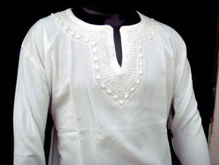 Mens White Cotton Bohemian Beach Wear Wedding Dress Casual Wear Short Kurta 42""