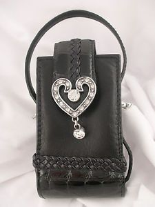 Brighton Leather Faux Crocodile Patent Leather Large Heart Cell Phone Case