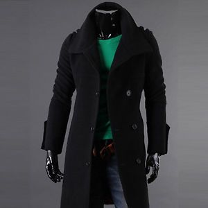 Mens Coats Woolen Casual Double Coats Korea Style Dandy Slim Fit Coats AC942F