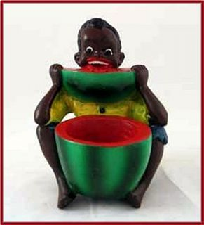Watermelon Boy Chalkware Match or Toothpick Holder Black Americana