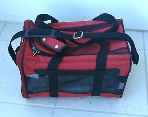 Sherpa Red Deluxe Pet Dog Cat Carrier Crate Bag Red Medium Up to 16lb Pre Owned