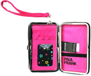 Paul Frank Julius iPhone 4 Cell Phone Holder Case Wristlet Wallet Vegan Kisslock