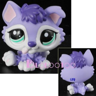Hasbro Littlest Pet Shop Purple Husky Puppy w Green Eye 1752 Loose Figure