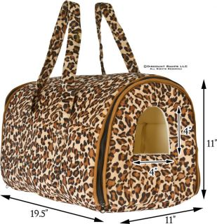 Leopard Pet Carrier Tote Bag Purse Yorkie Chihuahua Dog