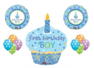 1st First Happy Birthday Boy Cupcake Candle Polka Dot Balloon Set Party Supplies
