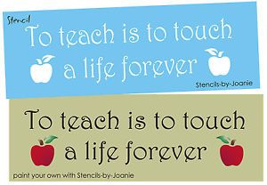 Classroom Stencil to Teach Touch Life Forever Child Apple School Education Sign