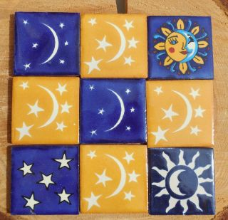 "9 Mexican Talavera Pottery 2"" Clay Tile Hand Painted Yellow Blue Eclipse Sun"
