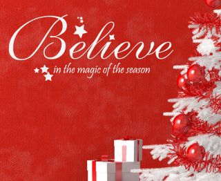 Wall Decal Quote Vinyl Sticker Art Lettering Large Believe Christmas Holiday C5