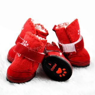 Super Warm Cozy Pet Dog Boots Paw Velcro Puppy Shoes for Small Dogs Cats 5 Sizes