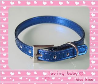 Cute Leather Cat Pet Dog Collar x Small XS Blue Free