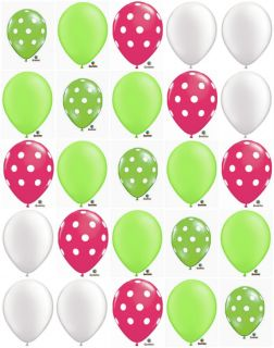 25 Cute Pink Lime Green White Polka Dot Balloons Set