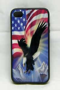 iPhone 4 I Phone 4S Case Eagle American Flag Custom Black Rubber Cell Cover