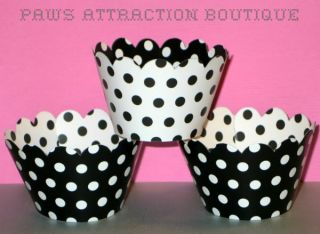 12 Reversible Minnie Mouse Black White Cupcake Wrappers Polka Dot Wrap Liner