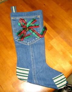 Vintage Handmade Christmas Stocking Blue Jeans Denim