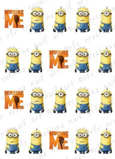 20 Nail Decals Despicable Me Asst Water Slide Nail Decals Cute Nail Art Decals