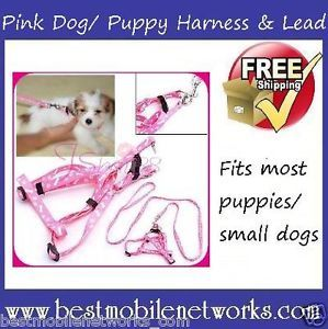 Pink Dog Harness and Lead for Small Dog Puppies Free Postage