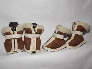 Brown Suede White Fur Dog Puppy Boots Shoes Zipper Velcro Size XS x Small