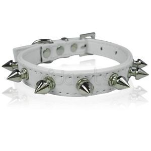 "11 14"" White Leather Spiked Studded Dog Collar Small"