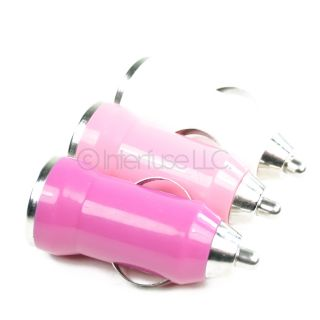 Set of 3 Hot Pink Pink and White Mini Universal USB Car Charger Power Adapters